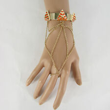 New Women Gold Metal Fashion Cuff Slave Bracelet Pyramid Orange Thin Hand Chain