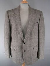 SUPERB BHS BRITISH MADE PURE WOOL HANDWOVEN GREEN HARRIS TWEED JACKET 44 INCH