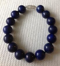 """Large Real Natural Lapis Lazuli Bracelet With 925 Silver Clasp 8"""""""
