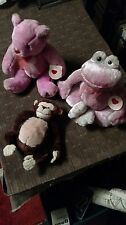 "Lot of 3 Soft Plush Stuffed Animal Toys, 10"" pink bear & frog and brown monkey"