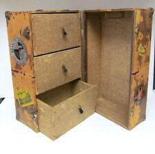Antique Vtg Wood Doll Trunk Chest Clothes Storage Steamer Drawers Vtg Stickers
