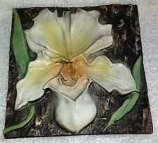 """Natalie Surving ~ White Lady Orchid-Tile High Relief Hand Painted Ceramic Art 6"""""""