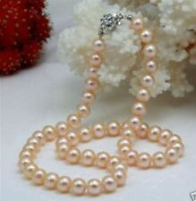 "8-9mm Pink AAA+ Akoya Natural Pearl Necklace 18"" QYL02"