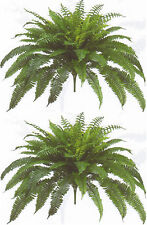 "2 BOSTON FERN 48"" SPREAD X 90 LEAF BUSH PLANT ARTIFICIAL TREE FLOWER SILK PALM"