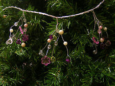6FT BEADED WIRE GARLAND FACETED BEADS & SNOWFLAKES CHRISTMAS TREE GARLAND