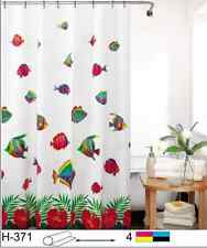 "NEW COMMERCIAL PACKAGED 71"" x 71"" TROPICAL FISH SHOWER CURTAIN WITH HOOKS!!!"