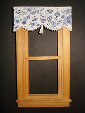 """Dollhouse Curtains - Shade - Blue Butterfly with Tassel - 3 """" wide"""