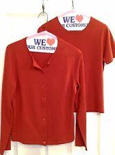 Kate Hill Cardigan Twin Sweater 100% Merino Wool Set Orange Size PM. Soft & Warm