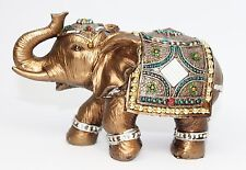 Feng Shui Elegant Elephant Trunk Statue Lucky Wealth Figurine Gift & Home Decor