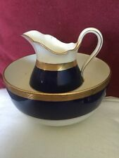 Early 20th Century Mintons Porcelain Jug and Bowl,White With Blue and Gold Bands