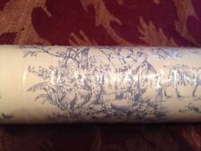 Vintage Toile Blue And White Wall Paper Still In Wrapper Unmarked Crafters