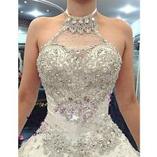 CRYSTAL BALL GOWN WEDDING DRESS. BRIDAL GOWN. SIZES 2-24W. HANDMADE.