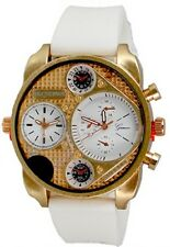 Dual Time White Rose Gold Watch Rubber Mens Geneva Fashion Designer