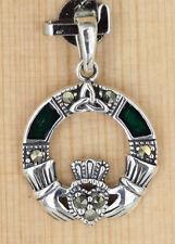Anhänger Silber mit  Markasit .Emaille Keltisch Triquetra Claddagh Irland