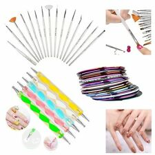 20pcs Nail Art Dotting Drawing Brush Pen + 30 Mixed Colors Rolls Tape Line DIY