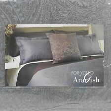 Nip $895 ANN GISH Cotton Paisley Duvet Comforter Cover + 2 Shams Set Mauve *KING