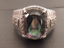 Mens Ring Size 11   Rainbow Mystic Fire  Topaz in Sterling Silver 925