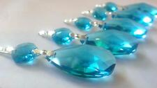 5 Turquoise Aqua 38mm Teardrop Chandelier Crystals Prisms Weddings Suncatchers