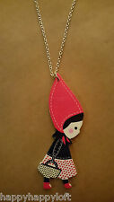 Little Red Riding Hood Wooden Necklace Kitsch Kawaii Girl Christmas Gift Pendant