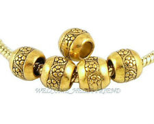 50 Lots Antique Gold Plated Flower Beads Fit European Charm Bracelet J003
