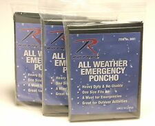 New Camping/Hiking/Survival Olive Drab All Weather Emergency Poncho 3 Pack!