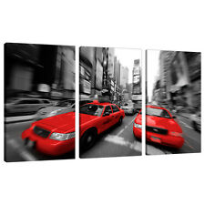 Set of 3 Piece Red Canvas Wall Art Pictures Cities Black White 3025