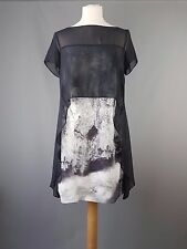 Mint Velvet dress sheer overlay with glacier print grey tunic size 10