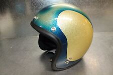 NEW 1966 SHOEI D-3A Vintage Motorcycle Helmet Blue / Gold Metal Flake Small