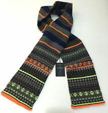 "Paul Smith Scarf ""FAIR ISLE"" NEON ORANGE Huge 6ft Long Made in Scotland RRP £125"