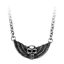 INOX Jewelry Black Oxidized Skull with Wings Stainless Steel Pendant NEW