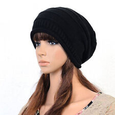 ab Unisex Women Knit Baggy Beanie Oversize Winter Hat Ski Slouchy Chic Cap Black