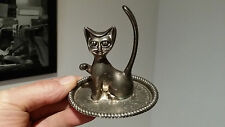 PORTE BAGUE CHAT VINTAGE BIJOUX METAL ANCIEN ART DECO FILLE 1970 MODERNISTE