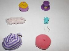 Littlest Pet Shop Hat Accessory Lot 6pc Set LPS Toys Pink Purple Blue Beret