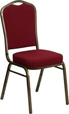 Crown Back Stacking Banquet Chair with Burgundy Fabric & Gold Vein Frame Finish