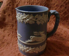 Dudson Light Blue Jasperware Stag Hunting Jug with Rope Handle