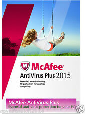2015 McAfee Anti Virus Software Plus 1-USER - 1 YEAR Home PC Protection RRP £19