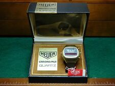 Vintage Heuer Chronosplit III LCD/LED Gold Filled Leather Strap Model R.100.725