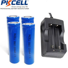 4x 18650 Li-ion Lights Vape Battery Rechargeable + 18650 US Charger For 18650