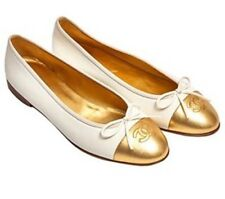 Chanel BALLET FLATS Cream WHite Gold two tone