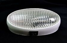 RV Porch Light 12 volt oval CLEAR lens camper RV trailer White exterior W/switch