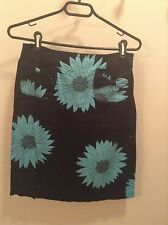 Black with turquoise floral design Grace Dane Lewis skirt women's size 4