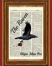 Edgar Allan Poe Dictionary Art Raven Rose Story Print Book Page Quote Picture