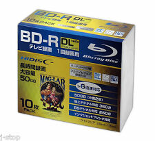 10 Hi-Disc Bluray BD-R DL 50GB Inkjet Printable 6x No Logo Professional Use