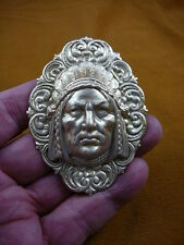 (B-NATIVE-17-5) Native man Chief traditional HEADDRESS flower brass Pin Pendant