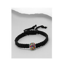 Black Macrame Rainbow CZ 12MM Bead Adjustable Shamballa Bracelet