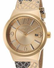 Invicta Women's 17296 Angel Analog Reptile Print Leather Strap Gold Watch