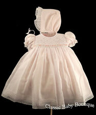 NWT Will'beth Pink Smocked 2pc Dress Bonnet 9M 9 M Baby Girls Boutique Stunning