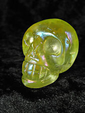 Yellow Rainbow Aura Quartz Crystal Skull Platinum Unusual Gift Xmas Present 54g