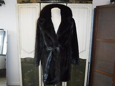 Womens Genuine Mink Black Fur Spy Trench Coat Small