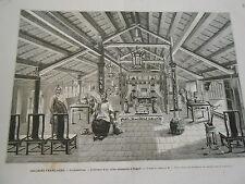 Gravure 1872 - Interieur d'un Riche Annamite à Saïgon